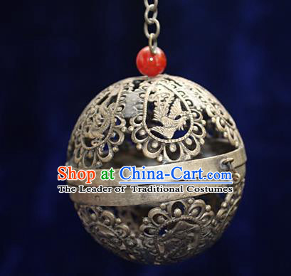 Traditional Chinese Miao Nationality Crafts Decoration Accessory Bronze Censer, Hmong Handmade Phoenix Round Burner Ornaments, Miao Ethnic Minority Exorcise Evil Incense Burner