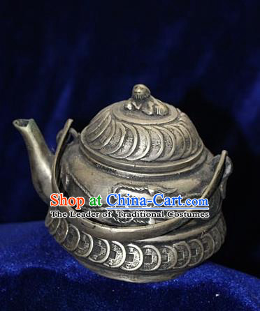 Traditional Chinese Miao Nationality Crafts Decoration Accessory Bronze Flagon, Hmong Handmade Miao Silver Flagon Ornaments, Miao Ethnic Minority Exorcise Evil Wine Pot