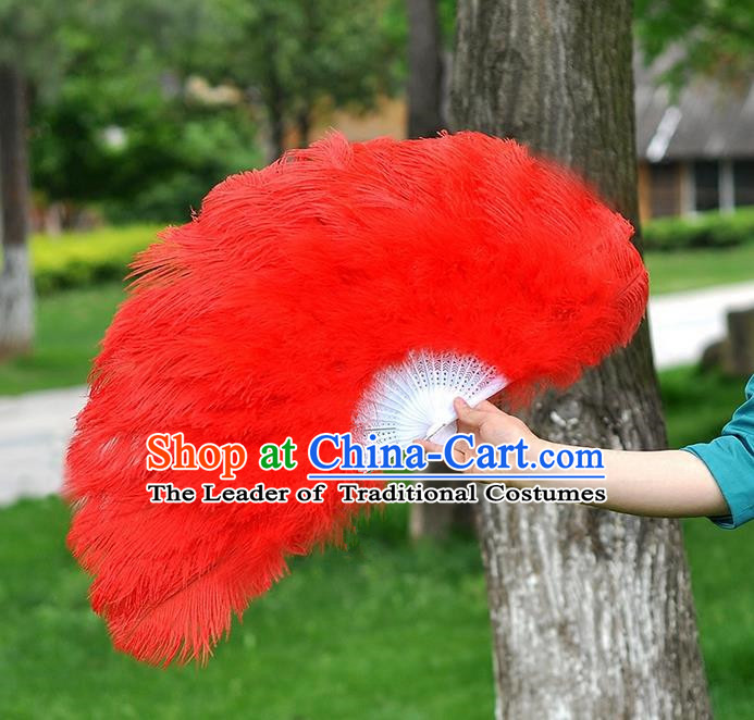 Traditional Handmade Chinese Classical Ostrich Feather Fans, China Folk Dance Fan Dance Stage Performance Large Size Red Fan for Women