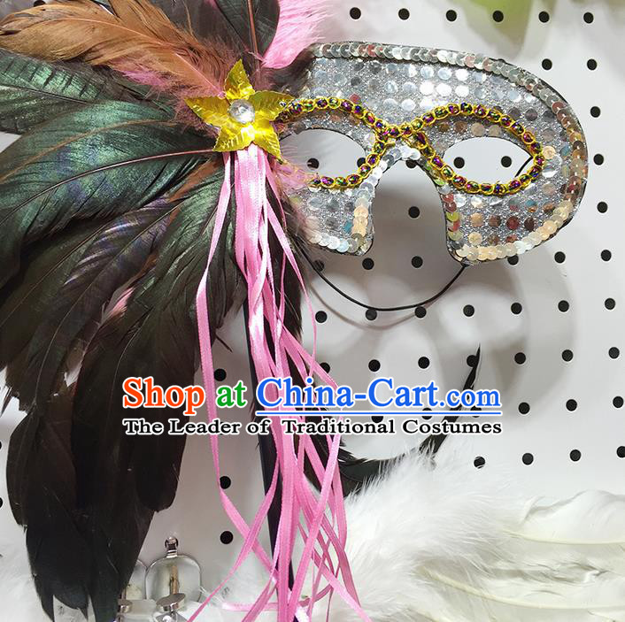 Classicla Halloween Feather Mask Stage Performance Props Fancy Ball Masks for Women