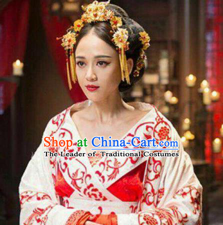 Traditional Handmade Chinese Ancient Classical Hair Accessories Complete Set, Han Dynasty Barrettes Imperial Consort Hairpin, Hanfu Imperial Princess Hair Sticks Hair Jewellery, Hair Fascinators Hairpins for Women
