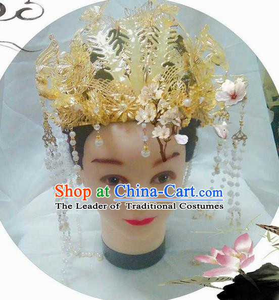 Traditional Handmade Chinese Ancient Classical Hair Accessories, Han Dynasty Bride Wedding Barrettes Imperial Empress Phoenix Coronet, Xiuhe Suit Hanfu Hair Sticks Hair Jewellery, Hair Fascinators Hairpins for Women