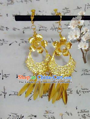 Traditional Handmade Chinese Ancient Classical Accessories Earrings, Han Dynasty Imperial Consort Eardrop, Hanfu Princess Tassel Earbob for Women
