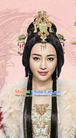 Traditional Handmade Chinese Ancient Classical Hair Accessories Complete Set, Han Dynasty Imperial Empress Phoenix Coronet, Xiuhe Suit Hanfu Hair Sticks Hair Jewellery, Hair Fascinators Hairpins for Women
