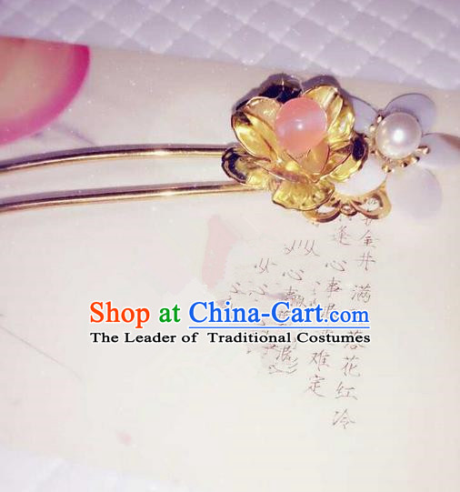 Traditional Handmade Chinese Ancient Classical Hair Accessories, Han Dynasty Barrettes Pearl Hairpin, Hanfu Hair Sticks Flowers Tassel Hair Jewellery, Hair Fascinators Hairpins for Women