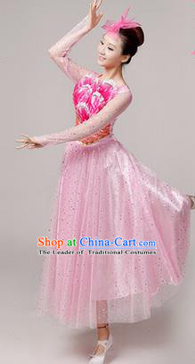 Traditional Chinese Modern Dancing Costume, Women Opening Classic Stage Performance Chorus Singing Group Dance Paillette Costume, Folk Dance Yangko Costume, Modern Dance Long Pink Peony Dress for Women