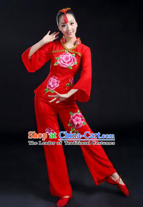 Traditional Chinese Yangge Fan Dancing Costume, Folk Dance Yangko Costume Drum Dance Red Peony Clothing for Women
