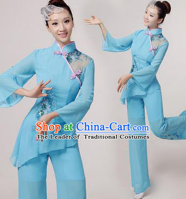 Traditional Chinese Yangge Fan Dancing Costume, Folk Dance Yangko Costume Drum Dance Blue Embroider Clothing for Women