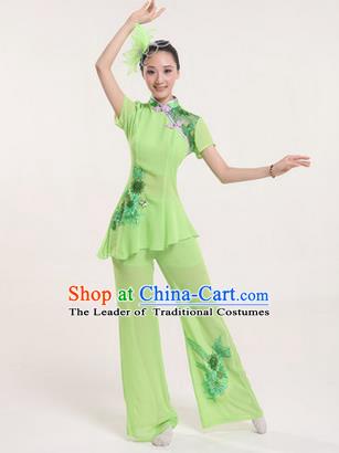 534c2a354 Traditional Chinese Yangge Fan Dancing Costume, Folk Dance Yangko Costume  Drum Dance Classic Dance Green
