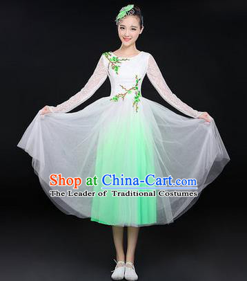 Traditional Chinese Modern Dancing Costume, Women Opening Classic Chorus Singing Group Dance Paillette Costume, Classic Dance Plum Blossom Costume, Modern Dance Long Green Dress for Women