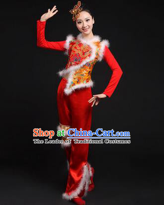 Traditional Chinese Yangge Fan Dancing Costume, Classic Dance Folk Dance Yangko Costume Drum Dance Red Dragon Clothing for Women