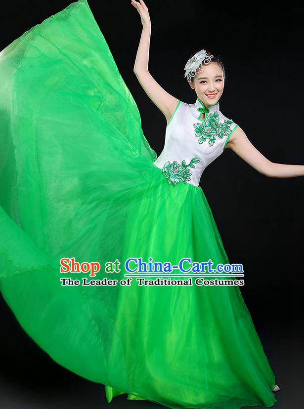 Traditional Chinese Modern Dancing Costume, Women Opening Classic Chorus Singing Group Dance Costume, Modern Dance Big Swing Mandarin Collar Dress for Women