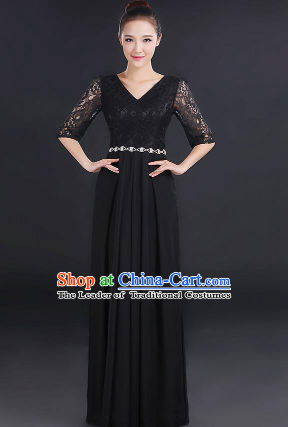 Traditional Chinese Modern Dancing Costume, Women Opening Classic Chorus Singing Group Dance Lace Clothing, Modern Dance Long Black Dress for Women