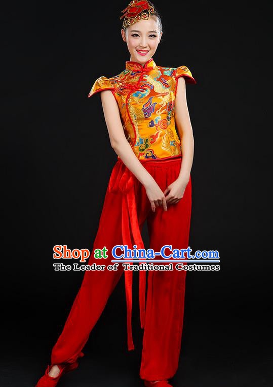 Traditional Chinese Yangge Fan Dancing Costume, Folk Dance Yangko Mandarin Collar Uniforms, Classic Dance Elegant Dress Drum Dance Painting Dragon Golden Clothing for Women