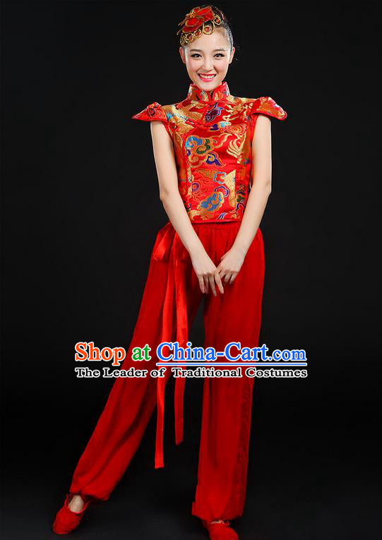 Traditional Chinese Yangge Fan Dancing Costume, Folk Dance Yangko Mandarin Collar Uniforms, Classic Dance Elegant Dress Drum Dance Painting Dragon Red Clothing for Women