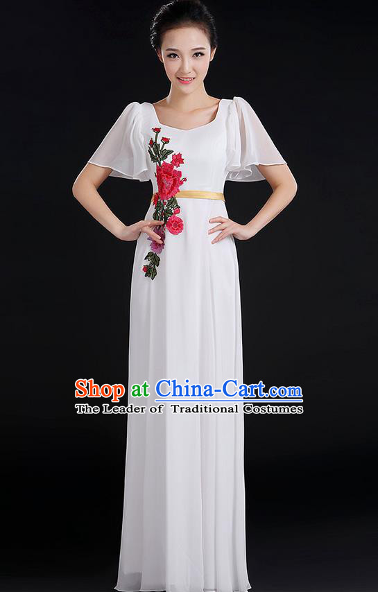 Traditional Chinese Modern Dancing Compere Costume, Women Opening Classic Chorus Singing Group Dance Peony Uniforms, Modern Dance Classic Dance Long White Dress for Women