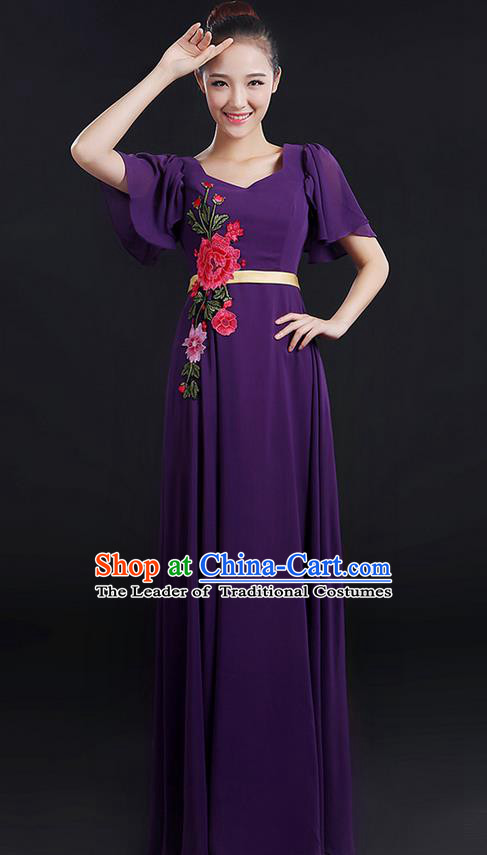 Traditional Chinese Modern Dancing Compere Costume, Women Opening Classic Chorus Singing Group Dance Peony Uniforms, Modern Dance Classic Dance Long Purple Dress for Women