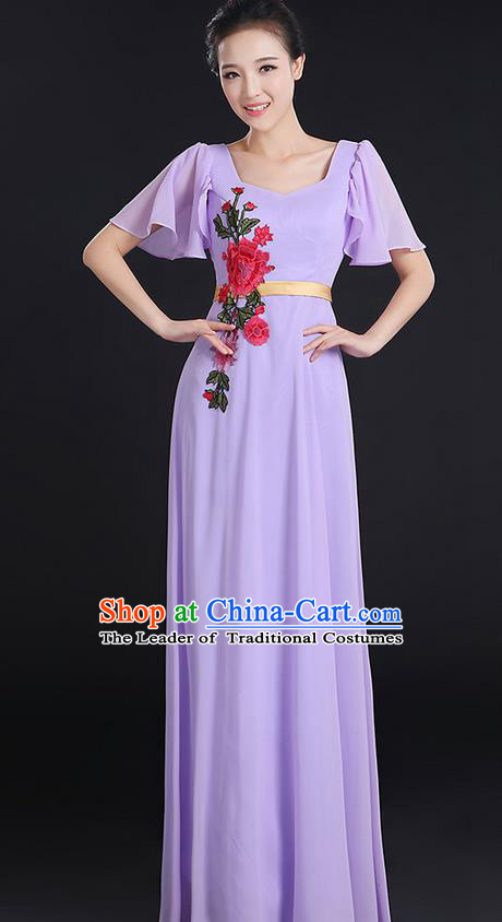 Traditional Chinese Modern Dancing Compere Costume, Women Opening Classic Chorus Singing Group Dance Peony Uniforms, Modern Dance Classic Dance Long Lilac Dress for Women