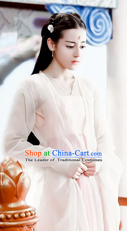 Traditional Chinese Ancient Han Dynasty Fairy Costume, Hanfu Imperial Princess Goddess Dress, China Cosplay Teleplay Ten great III of peach blossom Role Feng jiu Palace Princess Elegant Clothing for Women