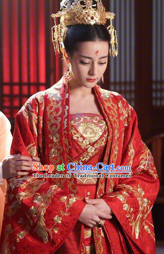 Traditional Ancient Chinese Imperial Consort Wedding Costume, Elegant Hanfu Fairy Red Dress Chinese Tang Dynasty Bride Imperial Concubine Tailing Embroidered Clothing for Women