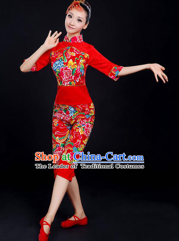Traditional Chinese Yangge Fan Dancing Costume, Folk Dance Yangko Fairy Uniforms, Classic Dance Elegant Dress Drum Dance Peony Red Clothing for Women