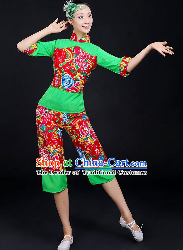 Traditional Chinese Yangge Fan Dancing Costume, Folk Dance Yangko Fairy Uniforms, Classic Dance Elegant Dress Drum Dance Peony Green Clothing for Women