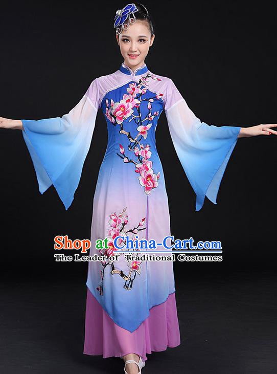 Traditional Chinese Yangge Fan Dancing Costume, Folk Dance Yangko Mandarin Sleeve Paillette Uniforms, Classic Umbrella Dance Elegant Dress Drum Dance Embroidered Plum Blossom Clothing for Women