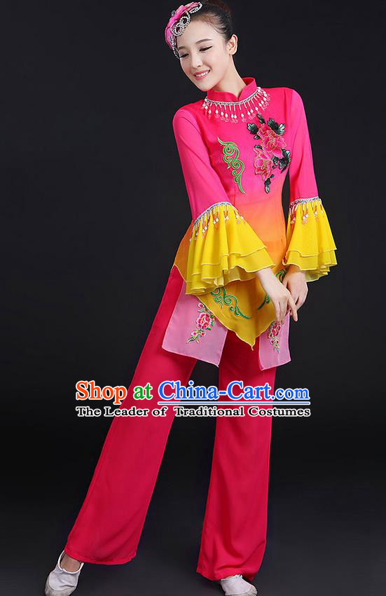 Traditional Chinese Yangge Fan Dancing Costume, Folk Dance Yangko Mandarin Sleeve Uniforms, Classic Umbrella Dance Elegant Dress Drum Dance Sequins Peony Clothing for Women