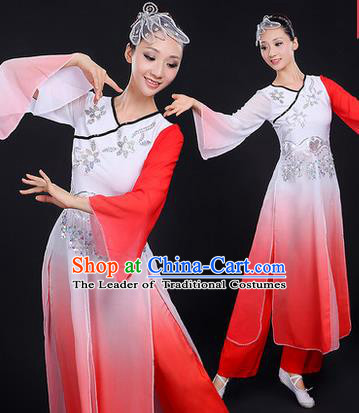 Traditional Chinese Yangge Fan Dancing Costume, Folk Dance Yangko Mandarin Sleeve Paillette Uniforms, Classic Dance Elegant Dress Drum Dance Paillette Pink Clothing for Women