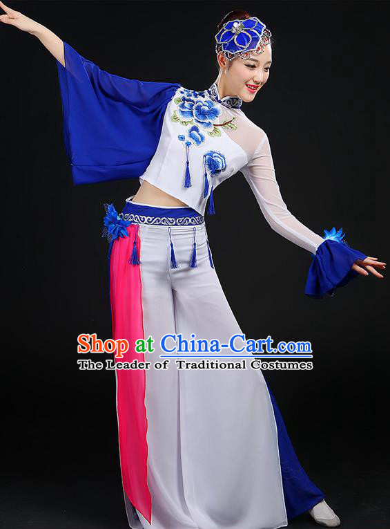 Traditional Chinese Yangge Fan Dancing Costume, Folk Dance Yangko Mandarin Sleeve Blue and White Porcelain Uniforms, Classic Umbrella Dance Elegant Dress Drum Dance Embroidered Peony Clothing for Women