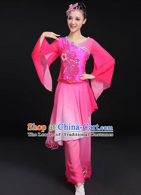 Traditional Chinese Yangge Fan Dancing Costume, Folk Dance Yangko Mandarin Sleeve Uniforms, Classic Umbrella Dance Elegant Dress Drum Dance Paillette Pink Clothing for Women