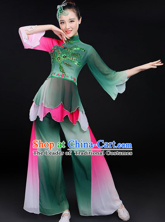 Traditional Chinese Yangge Fan Dancing Costume, Folk Dance Yangko Mandarin Sleeve Uniforms, Classic Lotus Dance Elegant Dress Drum Dance Green Clothing for Women