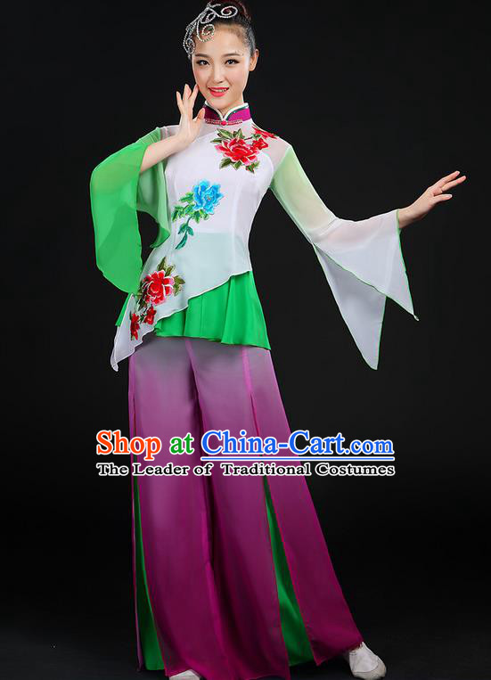 Traditional Chinese Yangge Fan Dancing Costume, Folk Dance Yangko Mandarin Sleeve Embroidered Peony Uniforms, Classic Dance Elegant Dress Drum Dance Flowers Clothing for Women