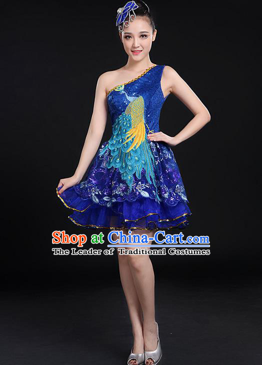 Traditional Chinese Modern Dancing Compere Costume, Women Opening Classic Chorus Singing Group Dance Paillette Peacock Uniforms, Modern Dance Bubble Short Dress for Women