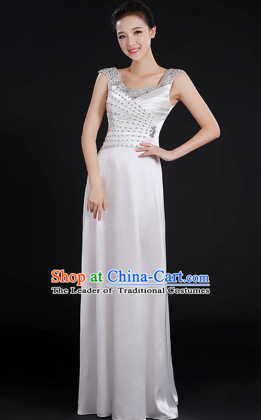 Traditional Chinese Modern Dancing Compere Costume, Women Opening Classic Chorus Singing Group Dance Crystal Dress Uniforms, Modern Dance Classic Dance White Dress for Women