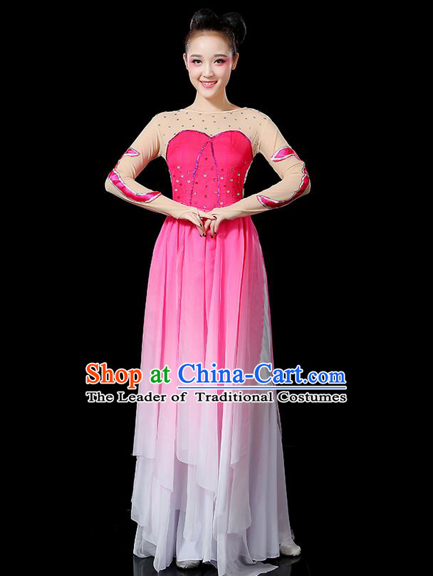 Traditional Chinese Yangge Fan Dancing Costume, Folk Dance Yangko Uniforms, Classic Umbrella Dance Elegant Big Swing Dress Drum Dance Clothing for Women