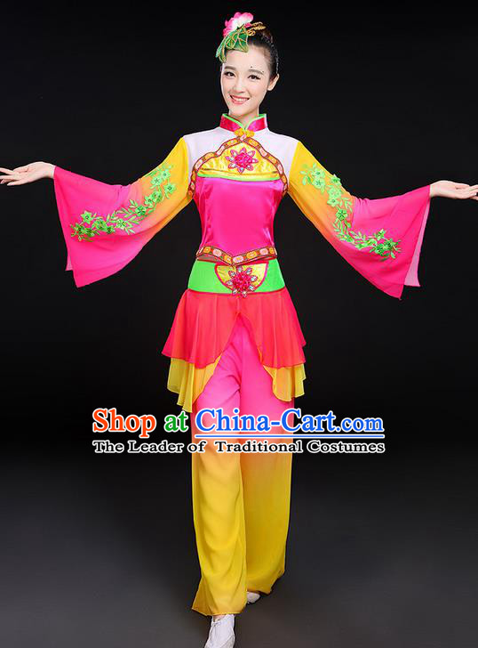 Traditional Chinese Yangge Fan Dancing Costume, Folk Dance Yangko Flowers Mandarin Sleeve Uniforms, Classic Umbrella Dance Elegant Dress Drum Dance Clothing for Women