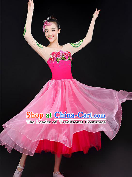 Traditional Chinese Yangge Fan Dancing Costume, Folk Dance Yangko Peony Uniforms, Classic Umbrella Dance Elegant Big Swing Dress Drum Dance Clothing for Women