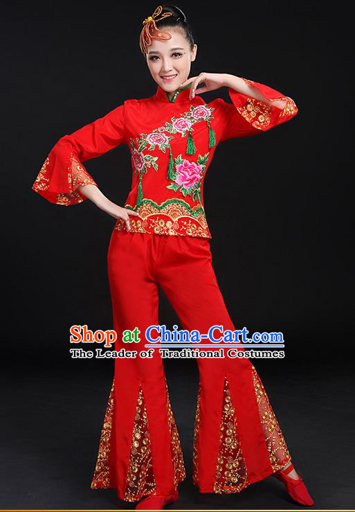 Traditional Chinese Yangge Fan Dancing Costume, Folk Dance Yangko Flowers Mandarin Sleeve Embroidered Peony Uniforms, Classic Umbrella Dance Elegant Dress Drum Dance Red Clothing for Women