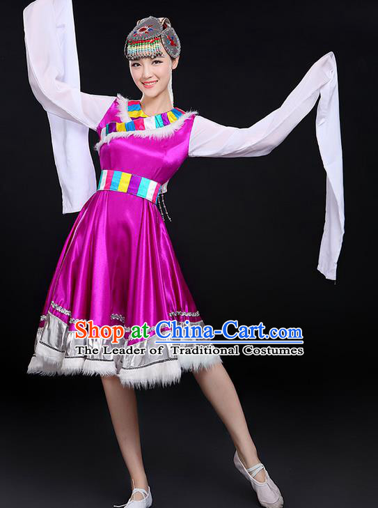 Traditional Chinese Mongol Nationality Dancing Costume, Mongols Female Folk Saussurea Involucrata Dance Ethnic Long Water-Sleeve Dress, Chinese Mongolian Minority Nationality Embroidery Purple Costume for Women