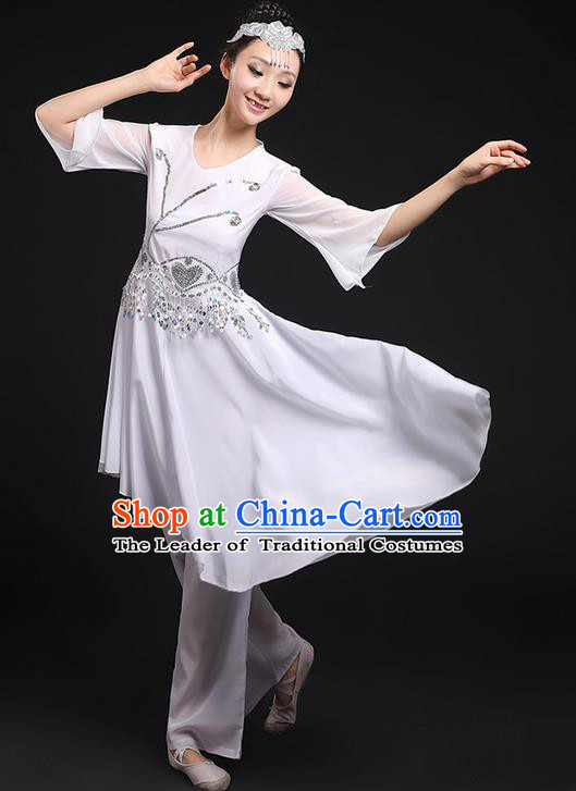 Traditional Chinese Yangge Fan Dancing Costume, Folk Dance Yangko Uniforms, Classic Umbrella Dance Elegant Big Swing Ink Painting Dress Drum Dance Clothing for Women