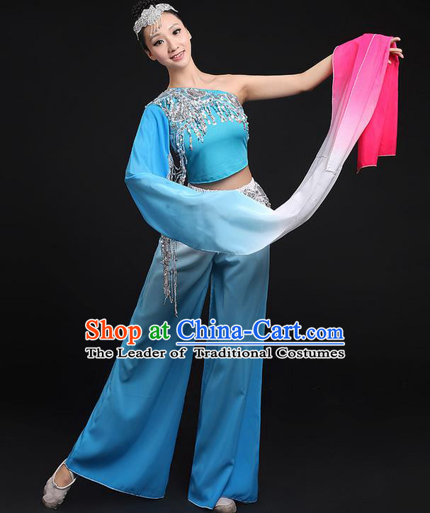 Traditional Chinese Yangge Fan Dancing Costume, Folk Dance Yangko Water Sleeve Paillette Uniforms, Classic Umbrella Dance Elegant Dress Drum Dance Blue Clothing for Women