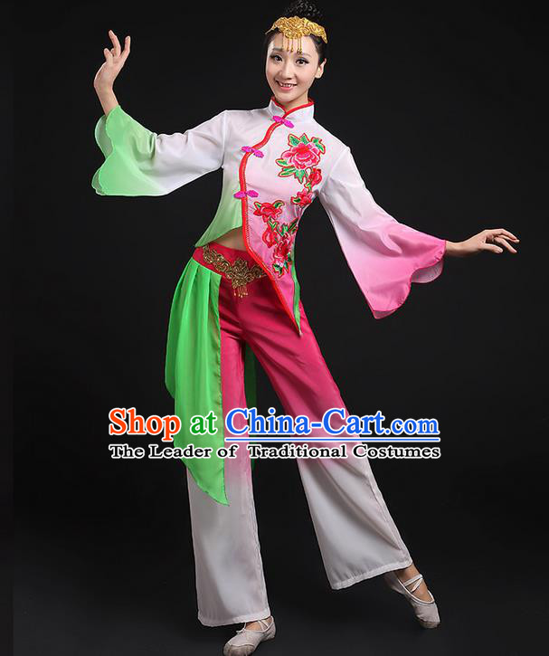 Traditional Chinese Yangge Fan Dancing Costume, Folk Dance Yangko Peony Uniforms, Classic Umbrella Dance Elegant Dress Drum Dance Pink Clothing for Women