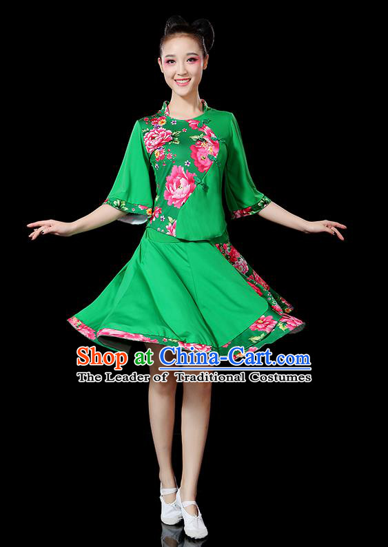 Traditional Chinese Yangge Fan Dancing Costume, Folk Dance Yangko Mandarin Sleeve Satin Peony Uniforms, Classic Umbrella Dance Elegant Dress Drum Dance Green Clothing for Women