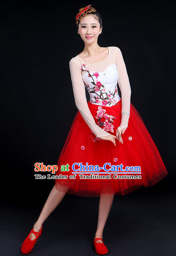Traditional Chinese Style Modern Dancing Compere Costume, Women Opening Classic Chorus Singing Group Dance Embroider Plum Blossom Uniforms, Modern Dance Classic Dance Red Bubble Dress for Women