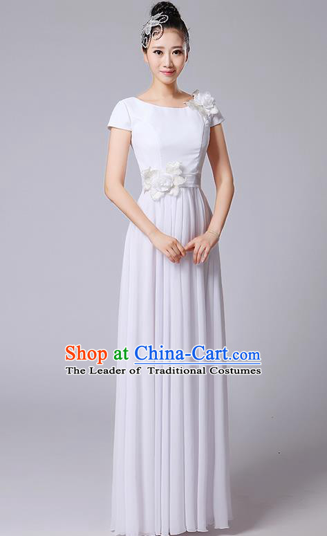 Traditional Chinese Modern Dancing Compere Costume, Women Opening Classic Chorus Singing Group Dance Uniforms, Modern Dance Classic Dance Big Swing Long White Full Dress for Women