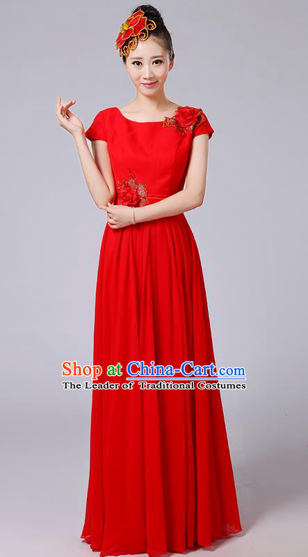 Traditional Chinese Modern Dancing Compere Costume, Women Opening Classic Chorus Singing Group Dance Uniforms, Modern Dance Classic Dance Big Swing Long Red Full Dress for Women