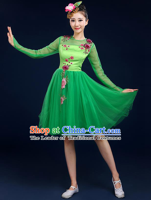 Traditional Chinese Modern Dancing Compere Costume, Women Opening Classic Chorus Singing Group Dance Bubble Uniforms, Modern Dance Classic Dance Big Swing Green Short Dress for Women