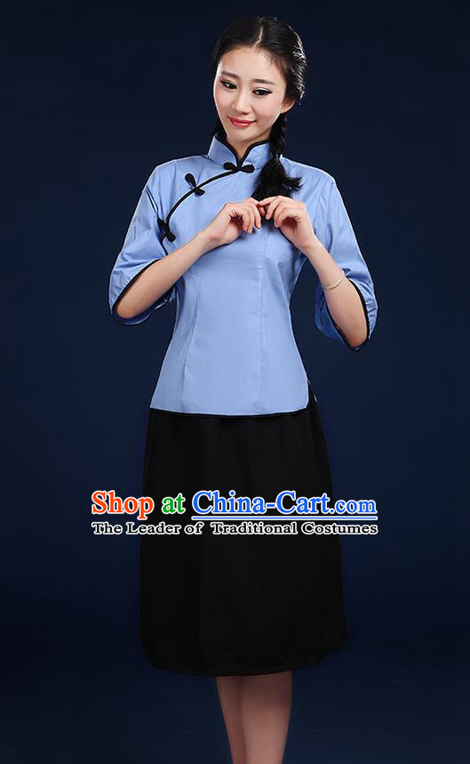 Traditional Chinese Style Modern Dancing Compere Costume, Women Chorus Singing Group Opening Classic Dance Republic of China Students Blue Uniforms, Modern Dance Cheongsam Blouse Dress for Women