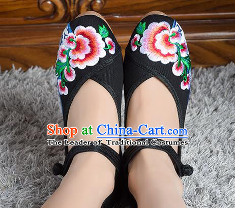Traditional Chinese Shoes, China Handmade Linen Embroidered Flowers Black High-heeled Shoes, Ancient Princess Cloth Shoes for Women
